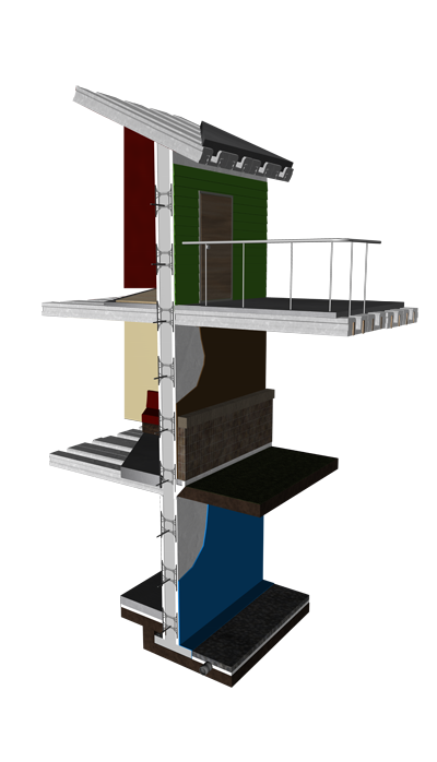 Diagram showing LiteDeck's use in multi-level construction.