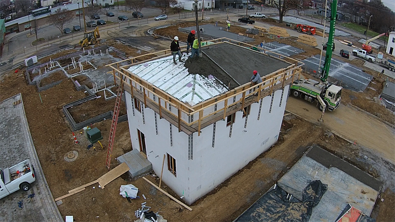 Pitched concrete roofs projects liteform for Foam concrete forms cost